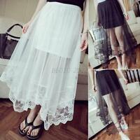 Women's Gauze Sheerness  Mesh Tulle Lace Floral Gothic Long Maxi Skirt White Hot