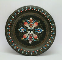 Vintage Brass Wall Hangings Decorative Plate Dish Hand Painted Black Handmade