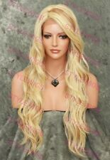 "Light Blonde Mix 27"" Long Wavy Heat OK Synthetic Lace Front Wig SALA 613/27"
