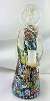 Vintage Murano Art Glass Millefiori  Angel Candle Holder Figurine