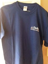 "New - Delta Airlines Blue S/S T-Shirt Size L w/Delta ""Good Goes Around"""