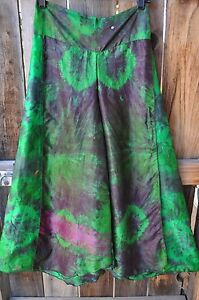 ARTIST HAND PAINTED SILK ART TO WEAR TIE DYED ONE OF A KIND PANT BY DILEMMA,OS !