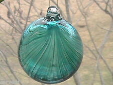 "Hanging Glass Ball 4"" Diameter Aqua with Green Swirls (1) HGB5"