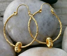 """Gold Plated  Hoop Earrings 1 1/4"""" wide lever back unbranded etched design"""