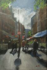 Oil Painting, London Streets. Original impressionist cityscape picture canvas.