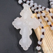 Carved natural white Jade stone Cross Pendant and white beads Necklace