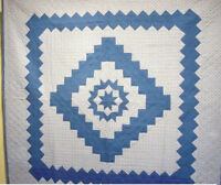 OUTSTANDING  ANTIQUE QUILT SAWTOOTH DIAMOND IN SQUARE WITH STAR CENTER 1930s