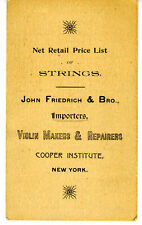 1890s Price List of Violin Strings J Friedrich New York
