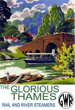 El carril gloriosa Thames & Río vapores GWR Tren Ferrocarril viajar cartel impresión