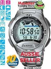 AUSSIE SELLER CASIO W-753D-1 W753D W753 FISHING TIDE GRAPH 12 MONTH WARRANTY