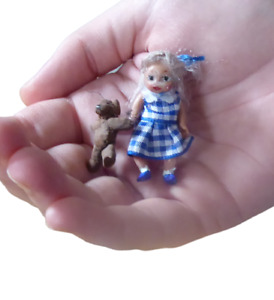 """1.5"""" hand made miniature tiny doll's house little girl child doll with teddy"""