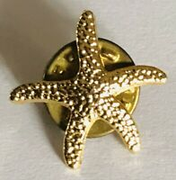 Gold Themed Starfish Lapel Brooch Pin Badge Rare Vintage (J9)