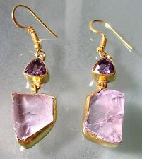 14K Gold plated brass rough amethyst & cut amethyst gemstones earrings.