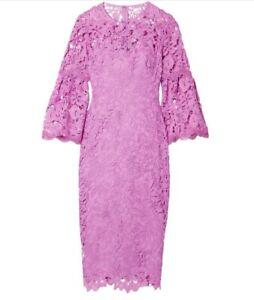 LELA ROSE New Guipure beautiful Orchid lace dress, lined sz 14 US NWT