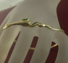 """14k Solid Yellow Gold Accented Emeralds Lady's Flat Snake Bracelet 7 1/4"""" Long"""