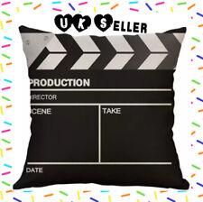 "Film Movie Clapper Board 17"" Cushion Cover Zipped Black White Fuzzy Material"