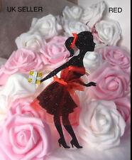 Personalised Glitter Cake Topper Birthday High Heels Lady Dress 16 18 21 30 40