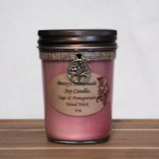 8 oz. Sage and Pomegranate Handmade Natural Soy Wax Wood Wick Light Red Candle