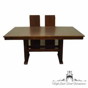 """ARCESE FURNITURE Solid Oak Mission Shaker Style 89"""" Trestle Dining Table 357-242"""