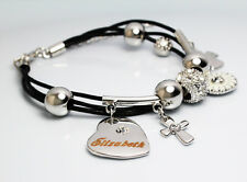 Genuine Braided Leather Charm Bracelet With Name - ELIZABETH - Gifts for her