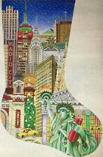 "Needlepoint Handpainted Amanda Lawford CHRISTMAS Stocking New York City 23"""