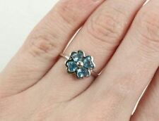 10k White Gold Aquamarine Heart Clover / Flower Ring Size 5