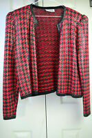vtg 80s St John Marie Gray Mod Disco Jacket Sz M Red Houndstooth Clear Sequins