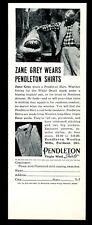 1937 great white shark photo and Zane Grey Pendleton shirt vintage print ad