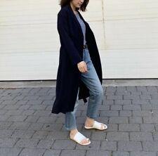 Cos Belted Sheer Summer Coat In Dark Blue Size 2