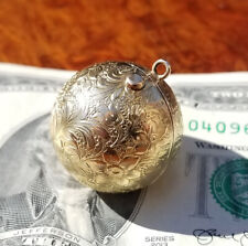 Antique 14k Gold Ball Pendant/Charm/Fob Folding Photo Locket-Victorian-19.5g