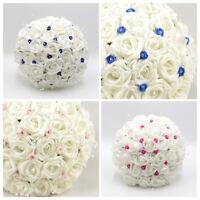 Artificial Wedding Flowers Foam Brides Bouquet Posy in 11 Colours Diamanté Roses