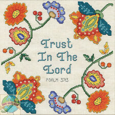Cross Stitch Kit Design Works Trust The Lord Floral Inspirational Saying #DW2904