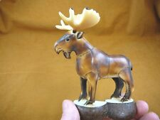 TNE-MOO-643A) brown Moose TAGUA NUT nuts palm figurine carving in rut antlers