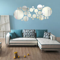 27PCS DIY 3D Acrylic Mirror Decal Art Mural Wall Sticker Home Decor Removable UK