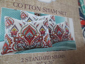 "New Umishu Cotton 2 Standard Shams Set 20""x26"" ~ Multi Color Medallion NIP"