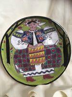 Vintage Folk Art Decorative Ceramic Plate
