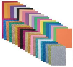 Edukit A5 EVA Foam Sheets – 40 Pieces – Plain & Glitter – 2mm Thick