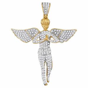 10k Gelbgold Herren Rund Diamant Engel Flügel Faith Charm Anhänger 1.00 Cttw