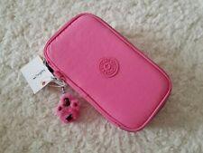 Kipling 50 Pens Pencils Case Cosmetic Zip Closure Fancy Pink Monkey Keychain NWT