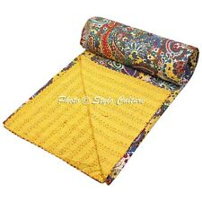 Indian Quilt Blanket Queen Cotton Printed Bed Cover Paisley Kantha Quilts