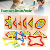 Wooden Geometry Jigsaw Puzzle Shape Cognition Board Toys Kids Educational