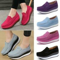 Women Large Size Rocker Sole Platform Shoes Wedge Suede Slip On Casual Loafers