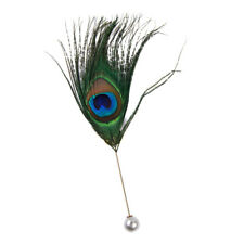 Vintage Peacock Feather Brooch Pin Boutonniere Clip for Tie Hat Scarf Stick Deco