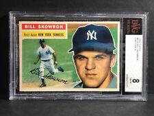 GRADED 1956 Topps Gray Back #61 BILL SKOWRON New York Yankees BVG Beckett NM/MT8
