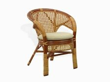 Lounge Chair Pelangi ECO Handmade Rattan Wicker w/ Cream Cushion, Cognac