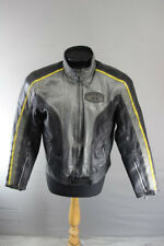 SILVER, BLACK & YELLOW SPYKE LEATHER BIKER JACKET + CE ARMOUR/THERMAL LINING 38""