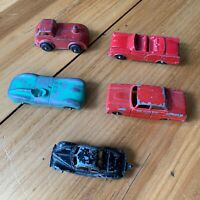 Lot of 4 Vintage Tootsie Die-Cast Toy Cars and one unnamed car