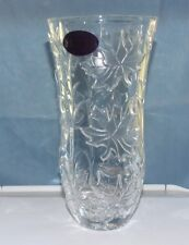 24% Lead Crystal Vase With Cut Leaves and Stems - New with Tags