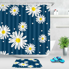 Beautiful Daisy Flowers Blue Background Waterproof Fabric Shower Curtain Set 72""
