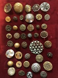 Lot Of 42 Antique Vintage Metal Brass Cut Steel Buttons Victorian Glass
